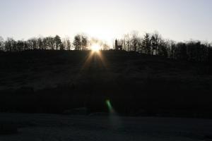 Sunrise over Little Round Top from Devils Den